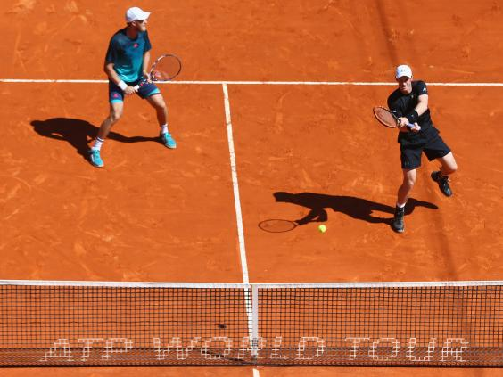 Andy Murray and Dom Inglot in doubles action in Monte Carlo. | Photo: Getty Images