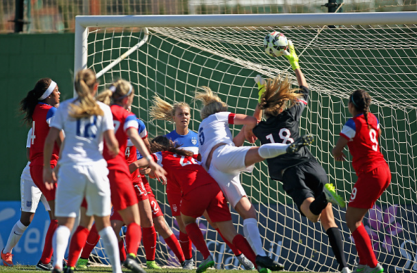 Casey Murphy (18) makes a leaping save in a U-23 friendly match against England. | Photo: Rich Graessle - Icon Sportswire via Getty Images