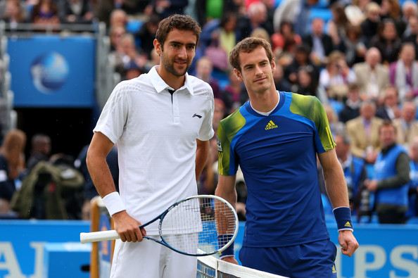 Murray and Cilic posing before the final of the Aegon Championships in 2013 (Photo by Julian Finney / Getty Images)