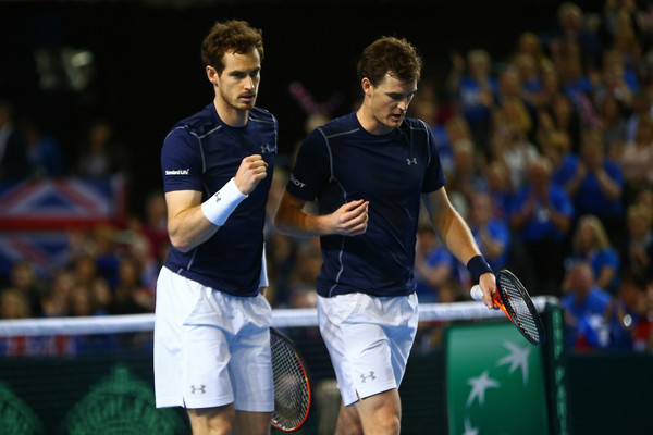 Andy Murray and Jamie Murray of Great Britain celebrate a point Source: Getty Images