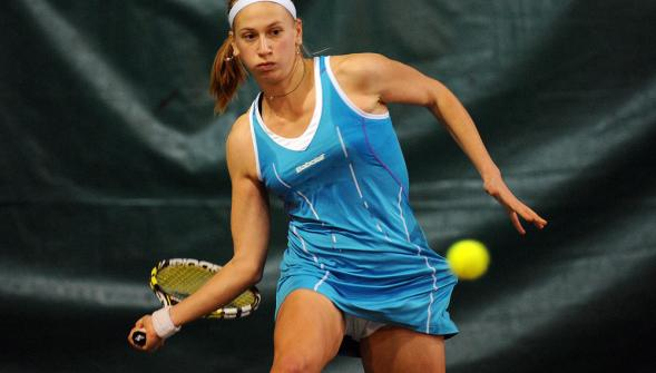 The young Frenchwoman Georges, pictured here on the WTA tour, was eventually overpowered by Muguruza.  (Source: Tennisactu.net)
