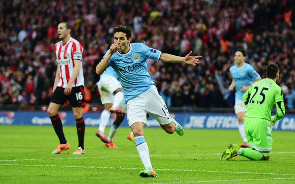 Navas wheels away to celebrate his well-taken strike at Wembley, two years ago | Photo source: Zimbio