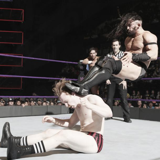 Neville took the fight to Gallagher. Photo-WWE.com