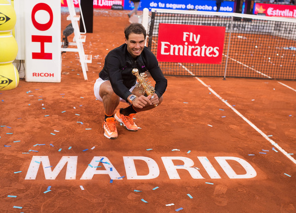 The Spaniard won the title at the Caja Magica for the fifth time in his career and first time since 2014 (Photo by Denis Doyle / Getty)