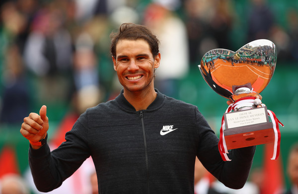 The Spaniard won a record 10th title at Monte Carlo and a record 50th clay court title in the Open Era (Photo by Clive Brunskill / Getty)