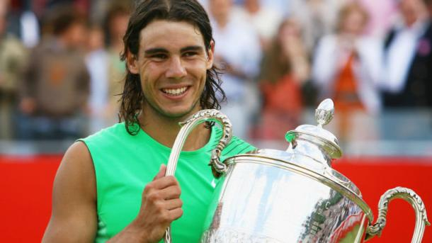 A much younger Rafael Nadal with his 2008 trophy (Source: Sky Sports)