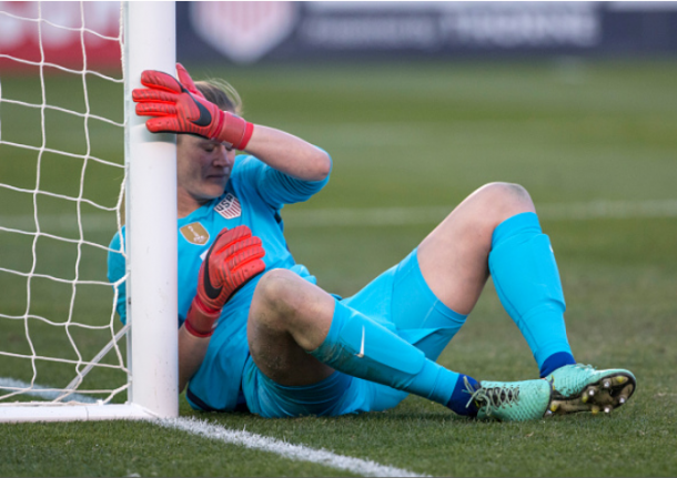 Denmark scores the opening goal of the match against United States goalkeeper Alyssa Naeher. | Photo: Alan Smith - Icon Sportswire via Getty Images