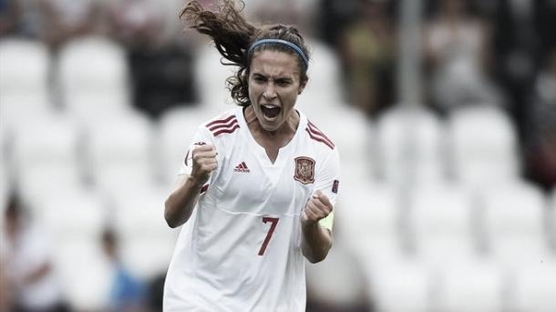 Spain's captain Nahikari García celebrates scoring. Photo: Sportsfile