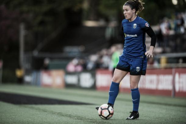 Christine Nairn scored the first of six goals last weekend to help Seattle in their rout of the Washington Spirit by a score of 6-2 | Photo: Jane Gershovich