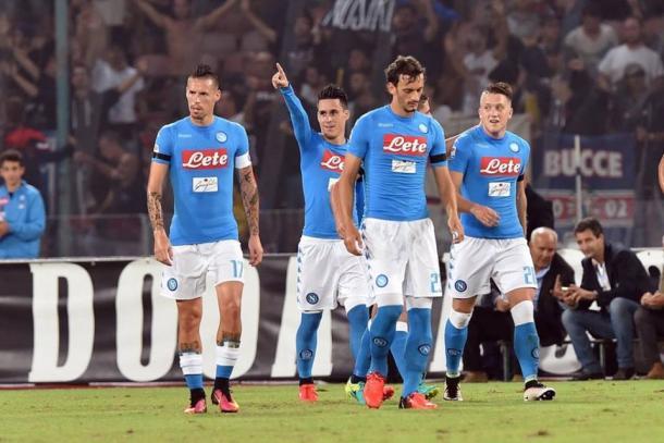Esulta, il Napoli, dopo l'1-0 dell'andata - Foto Calciomercato