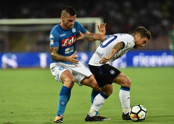 Maggio e Gomez nella sfida di Coppa Italia - Foto Napoli Twitter