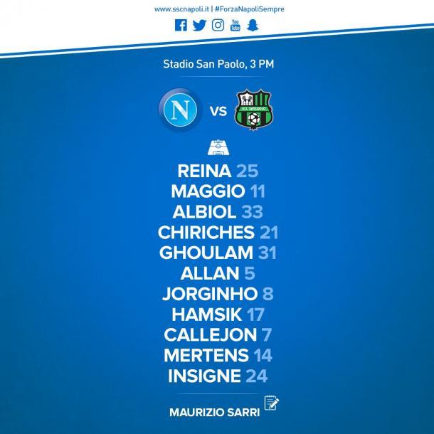 Il Napoli mette ko un buon Sassuolo: 3-1
