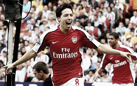 2008 Summer signing Samir Nasri opens his account for the Gunners in his Premier League debut against West Brom