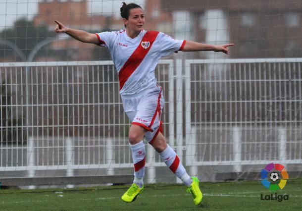 Natalia en la celebración de un gol. Foto: La Liga