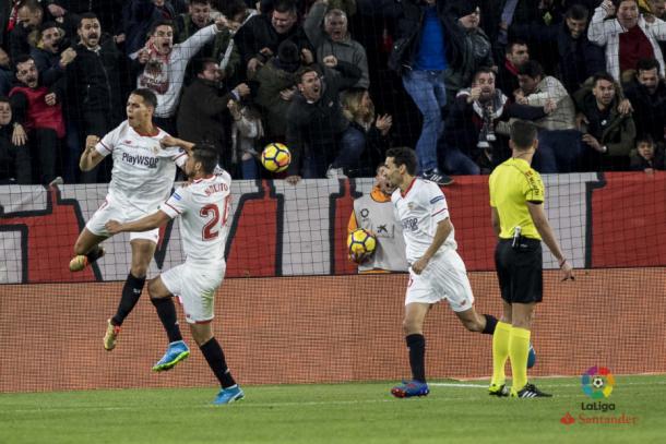 Jesús Navas, celebrando uno de los goles del Sevilla en el derbi frente al Betis. Fuente: LaLiga