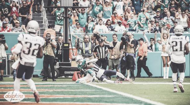 Stills fue el máximo partícipe de los Dolphins, con 8 capturas para 135 yardas | Foto: MiamiDolphins.com