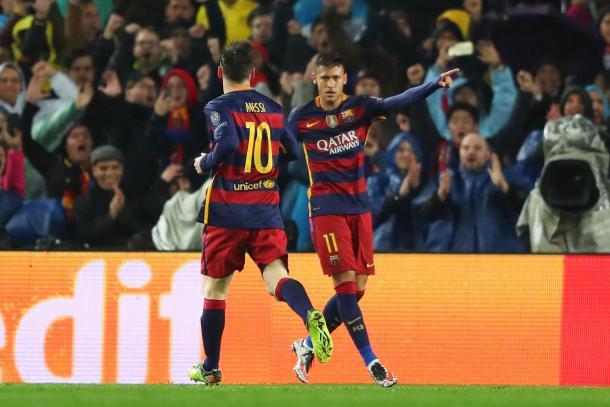 Neymar wheels away to celebrate his opener alongside Messi | Photo: SkySports