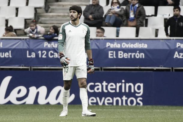 Nereo debutó bajo los palos del Carlos Tartiere el pasado domingo contra el Mallorca. Foto: realoviedo.com