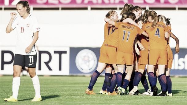 The Netherlands celebrate scoring against Norway. Photo: Sportsfile