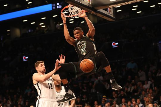 Milwaukee Bucks forward Giannis Antetokounmpo (34) dunks the ball past Brooklyn Nets forward Joe Harris (12). Photo by Anthony Gruppuso-USA TODAY Sports.