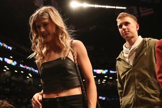 Tennis Star Player Genie Bouchard with her date John Goehrke at the game. Photo by Anthony Gruppuso-USA TODAY Sports.
