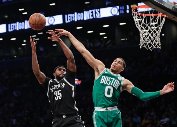 oston Celtics' Jayson Tatum (0) blocks a shot attempt by Brooklyn Nets' Trevor Booker (35). Photo:AP Photo/Frank Franklin II