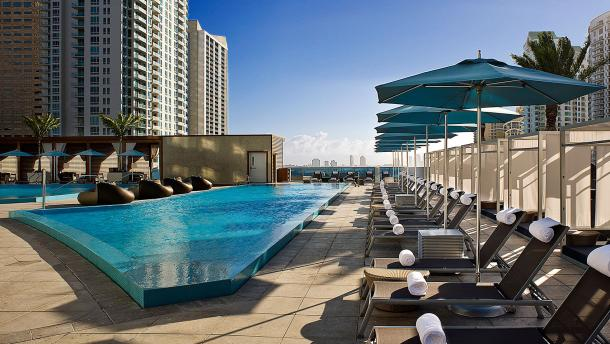 The rooftop pool at the EPIC hotel in downtown Miami/EPIC Hotel Miami