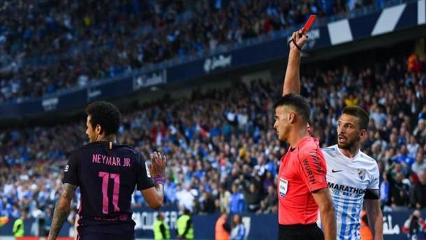 L'espulsione di Neymar, minuto 66, sul punteggio di 1-0 - Foto Gazzetta
