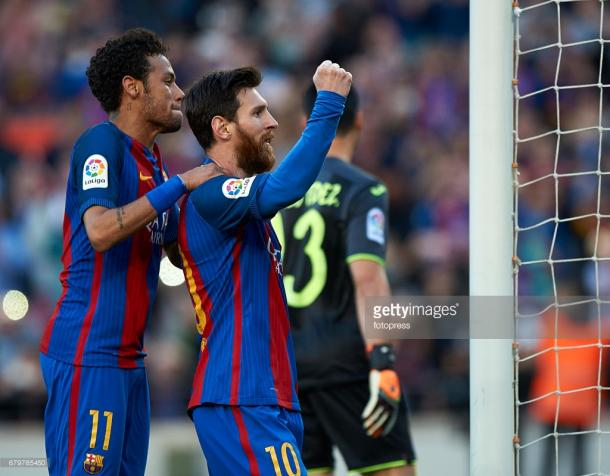 Neymar e Messi ao serviço do FC Barcelona. (Fonte: Getty Images)