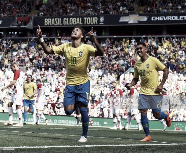 Neymar celebra el tanto conseguido en el amistoso frente a Croacia / Fuente: Getty Images