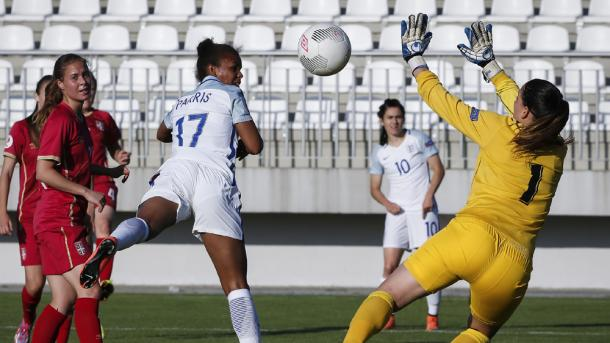 Nikita Parris nods in as she bags her first England goals. (Photo: FA)