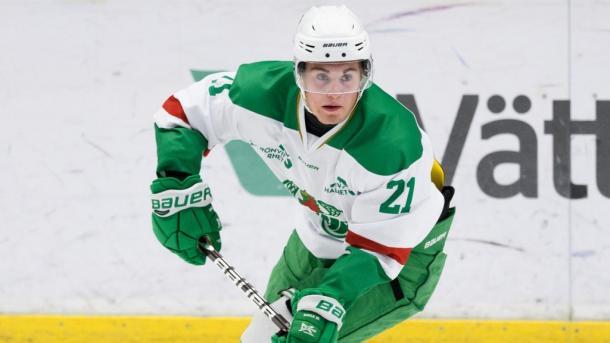 Nils Höglander in action for Rögle, (Photo: Hockeysverige.se)