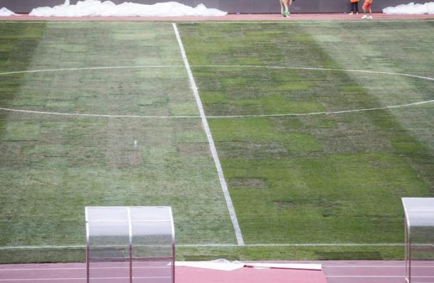 The Manchester Derby was cancelled due to the terrible state of the Bird's nest pitch | Photo: Getty