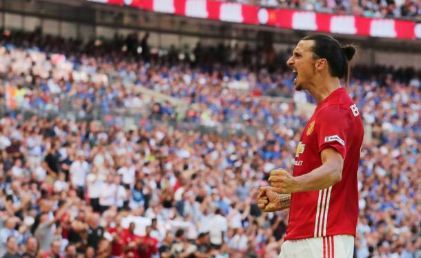 Zlatan helped his team to their first trophy of the season with a clever header to give United the win against Leicester (Source:Thesun.co.uk)