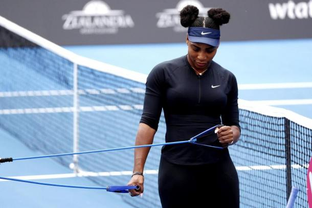 Serena Williams at a training session in Auckland | Photo: Associated Press