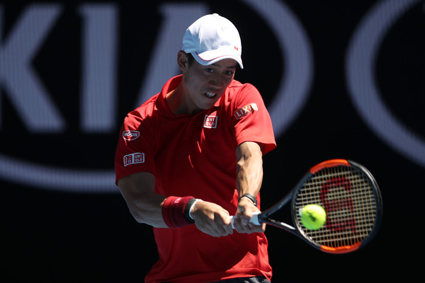 Nishikori competing on Day 1 of the Australian Open (Photo by Mark Kolbe / Getty Images)