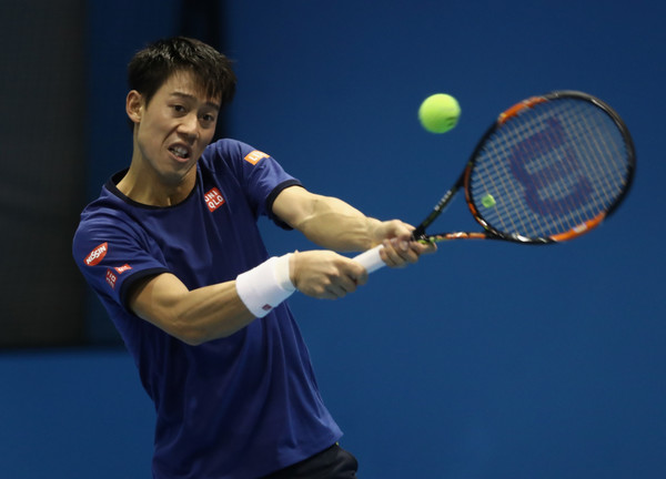 Nishikori practising at ATP World Tour Finals in London ahead of his first round robin match match with Wawrinka (Photo by Julian Finney / Getty Images)