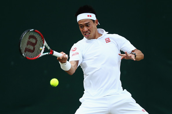 Nishikori in action at Wimbledon in 2014 against Simone Bolelli (Photo by Dan Kitwood / Source : Getty Images)