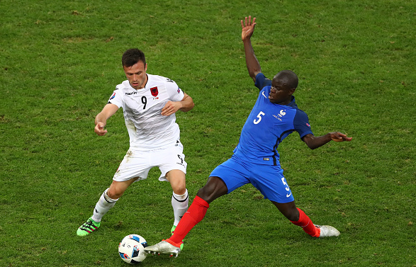 Kante (far right) stretching to make an interception against Albania in their group stage fixture. | Image: Getty