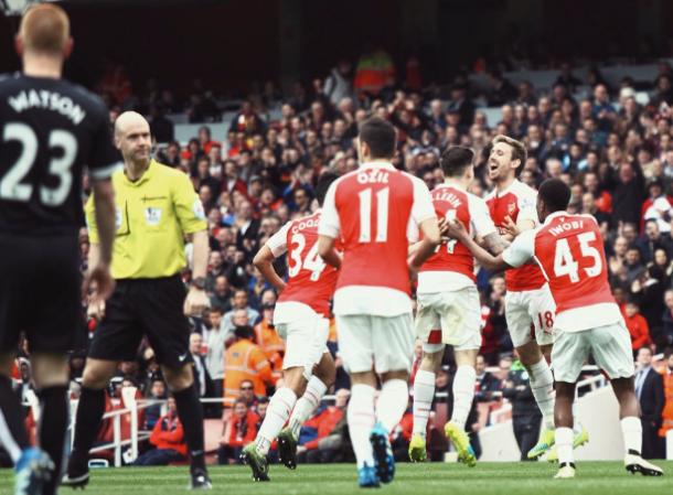 Arsenal goal celebrations. Source: Josh Smith