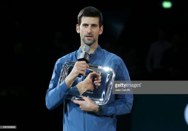 Djokovic fue finalista en el Masters 1000 de París. Foto: Getty Images.