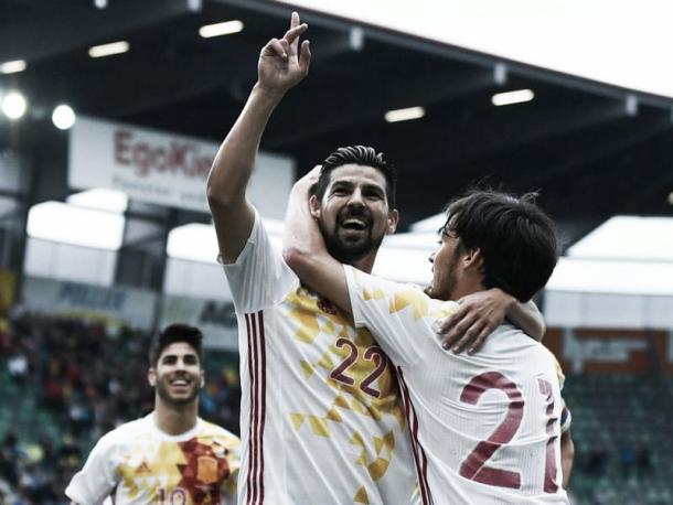 Nolito celebrates while playing for Spain | Photo: Getty images
