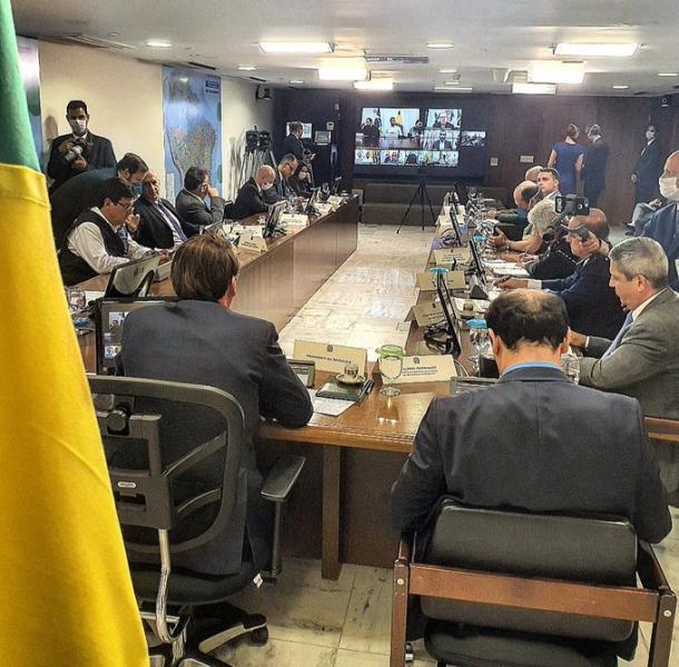 Reunião do presidente com governadores nortistas (Foto: Reprodução/Jair Bolsonaro)