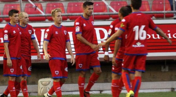 Jugadores del Numancia, celebrando el gol de Nieto. Fuente: Numancia