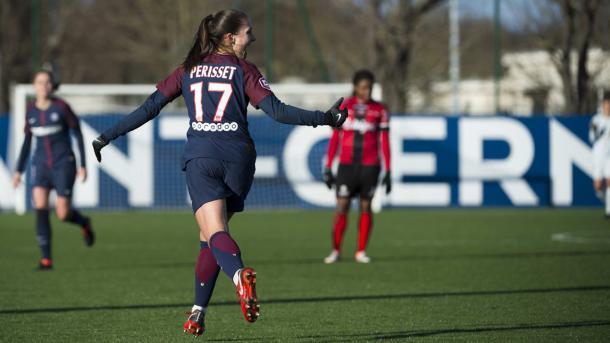 EVa Perisset celebrates her goal against Guingamp | Source: psg.fr