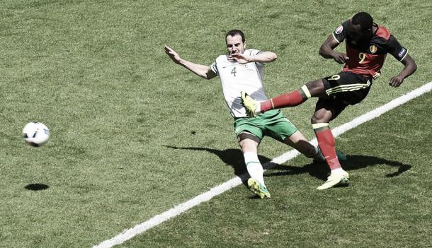 O'Shea was unable to cope with the pace and power of Lukaku in the second half. (Photo: UEFA.com)