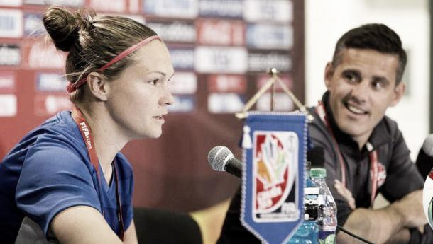 McLeod during a press conference at the World Cup last year.