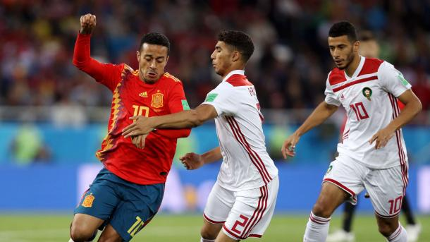 Thiago en el partido ante Marruecos | Foto: FIFA.com