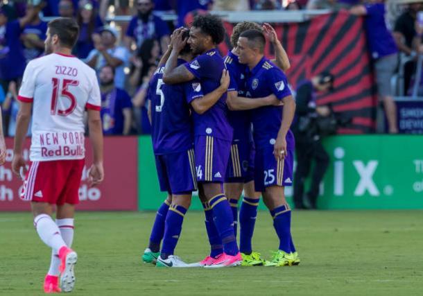 Orlando City celebrating goal.   Photo: Icon Sportswire via Getty Images