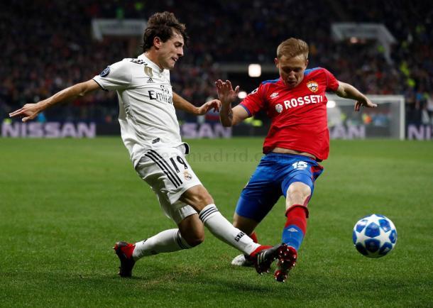 Odriozola en su partido de debut en Champions contra el CSKA I Foto: Real Madrid